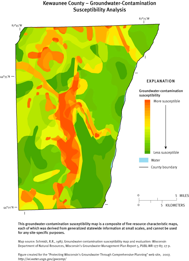 kewaunee county groundwater contamination susceptibility ysis map