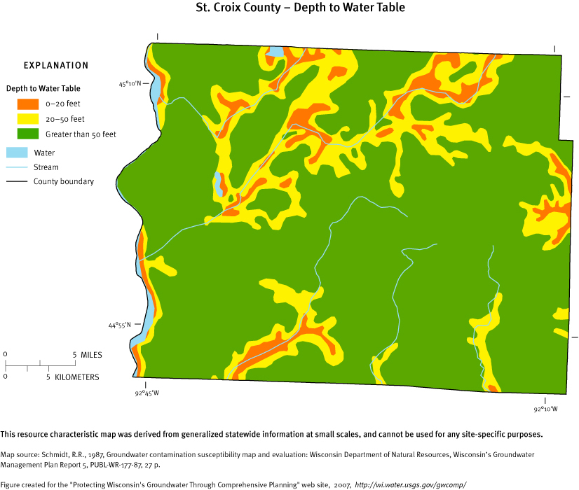 st croix county depth of water table