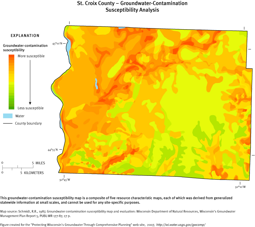 st croix county groundwater contamination susceptibility analysis map